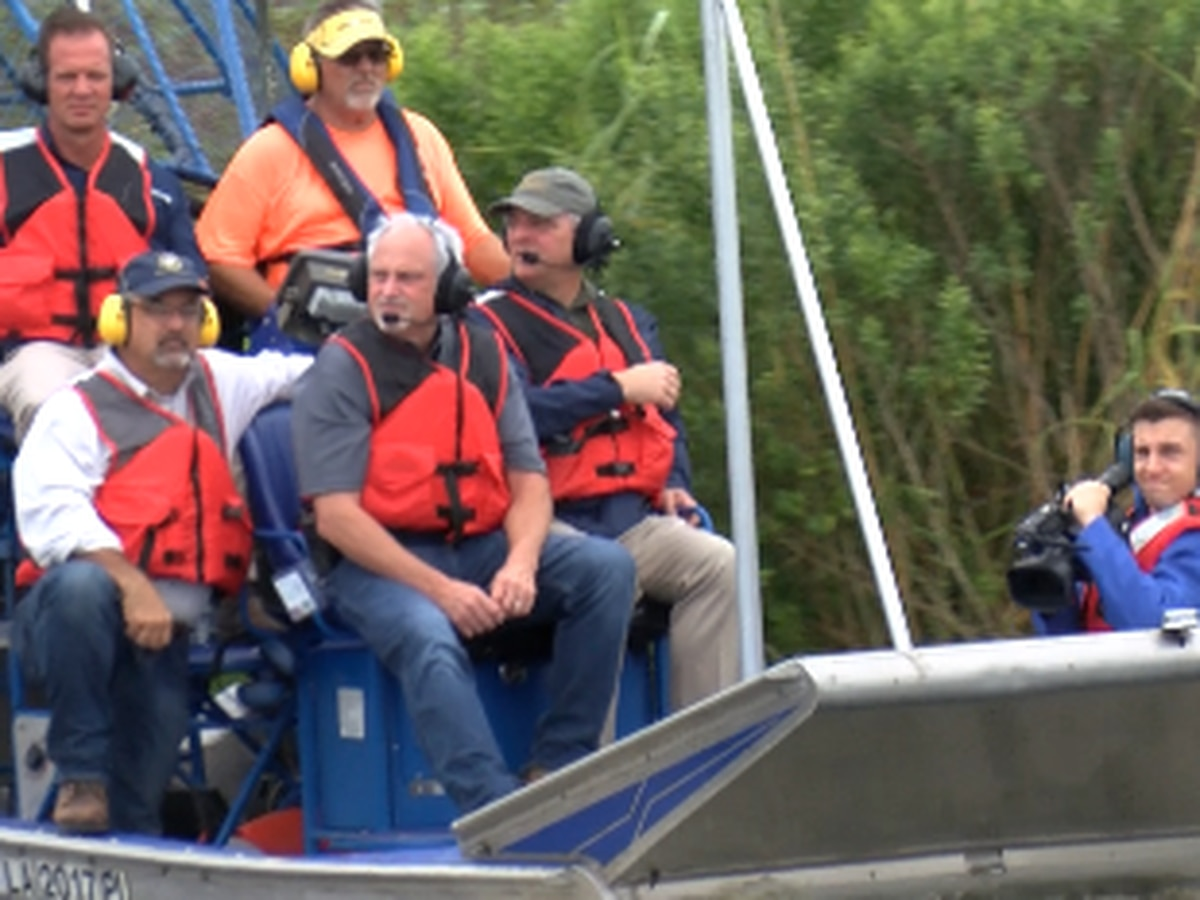 Gov. Edwards tours storm-damaged levee in Plaquemines Parish