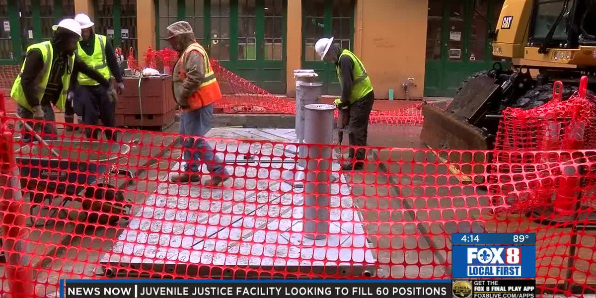 Bollards being installed on Bourbon Street