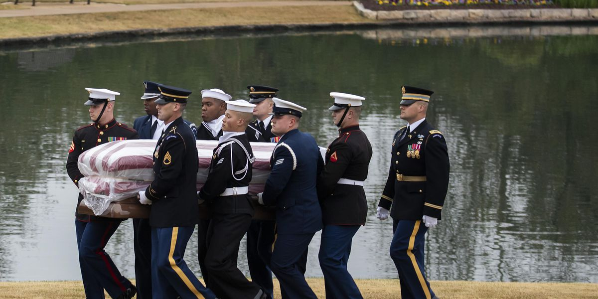 The Latest: Private, graveside service ends; Bush buried