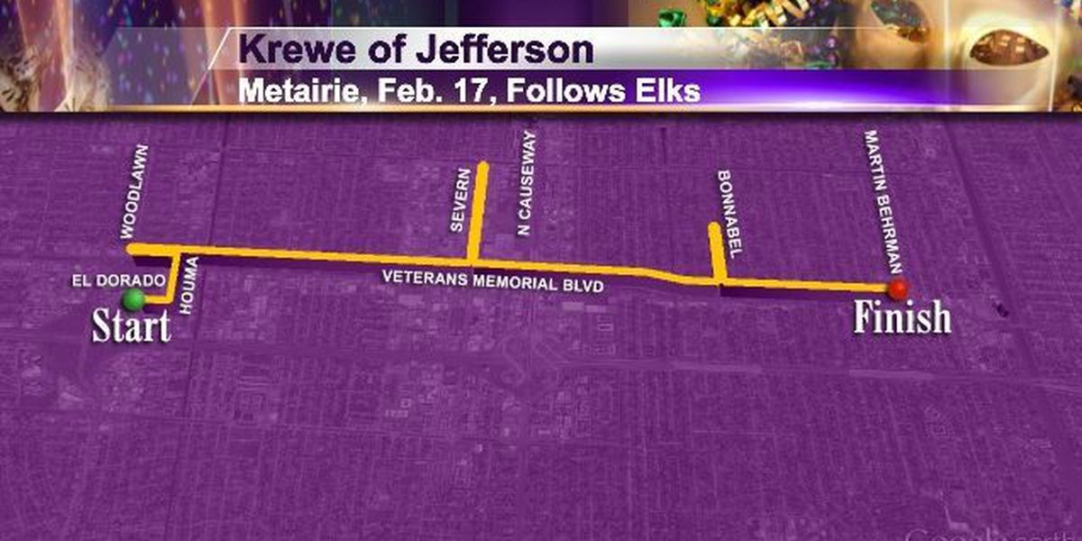 Tues 2/17 Metairie Krewe of Jefferson (follows Krewe of Argus)