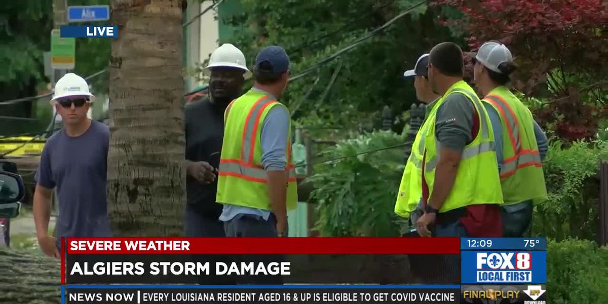 Possible tornado leaves path of damage in Algiers