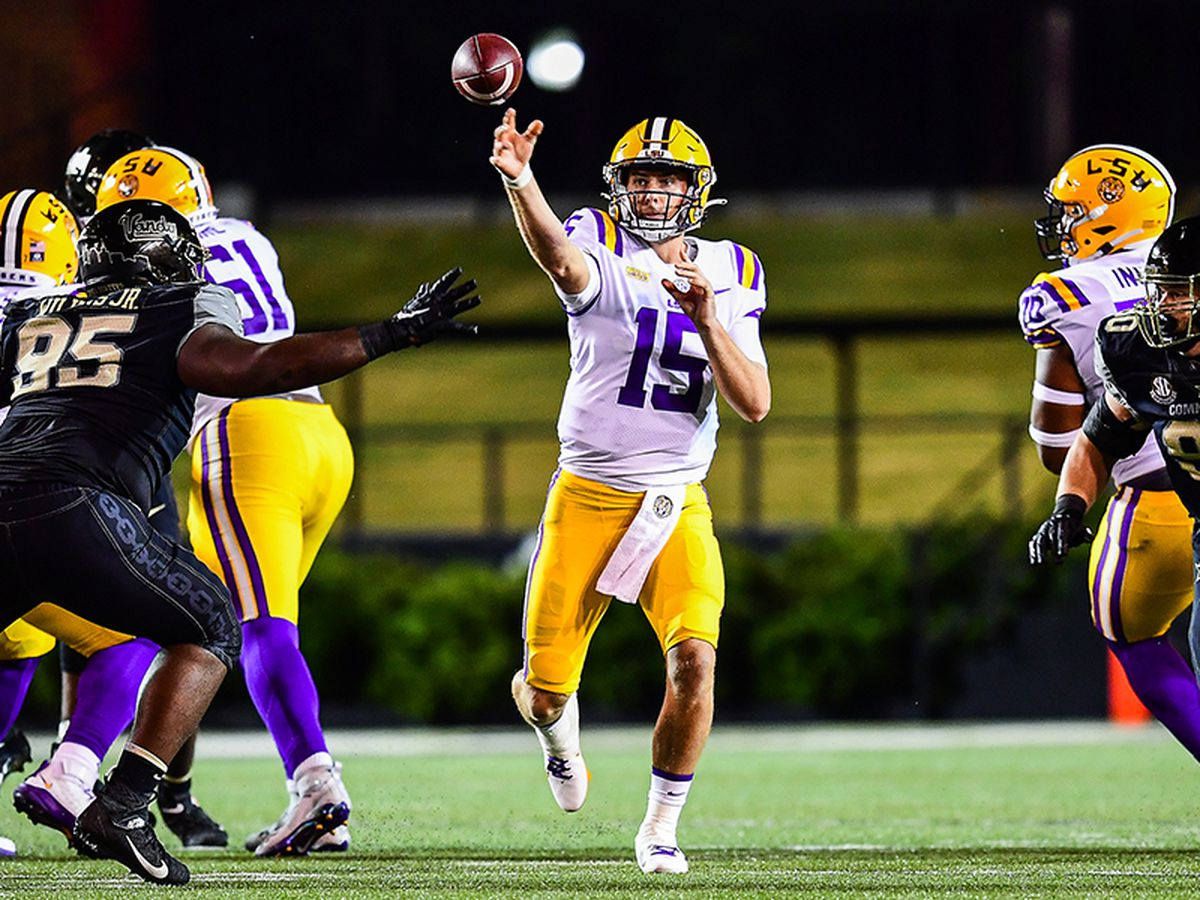 Brennan throws 4 TDs as No. 20 LSU rebounds with win at Vanderbilt