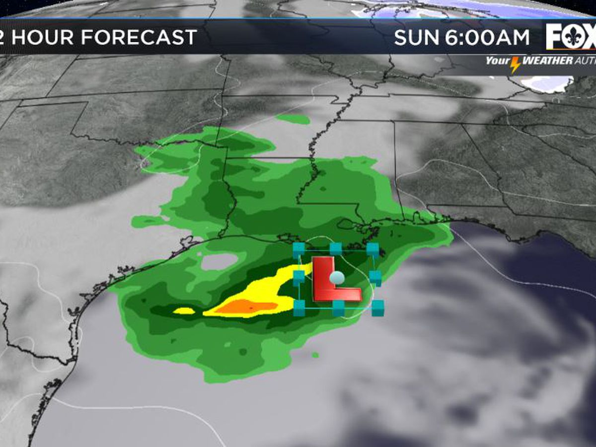 Gulf low means Sunday rain