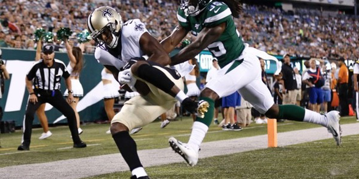Brees connects with Michael Thomas for a TD in his only series of the game, Saints beat the Jets
