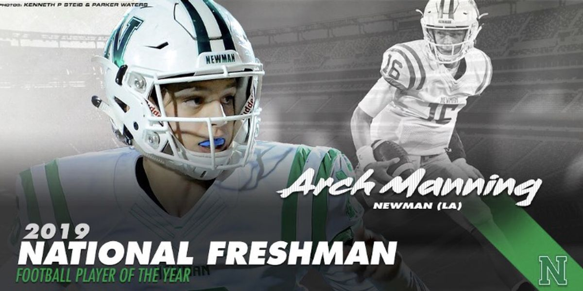 Newman QB Arch Manning named 2019 National Freshman Football Player of the Year