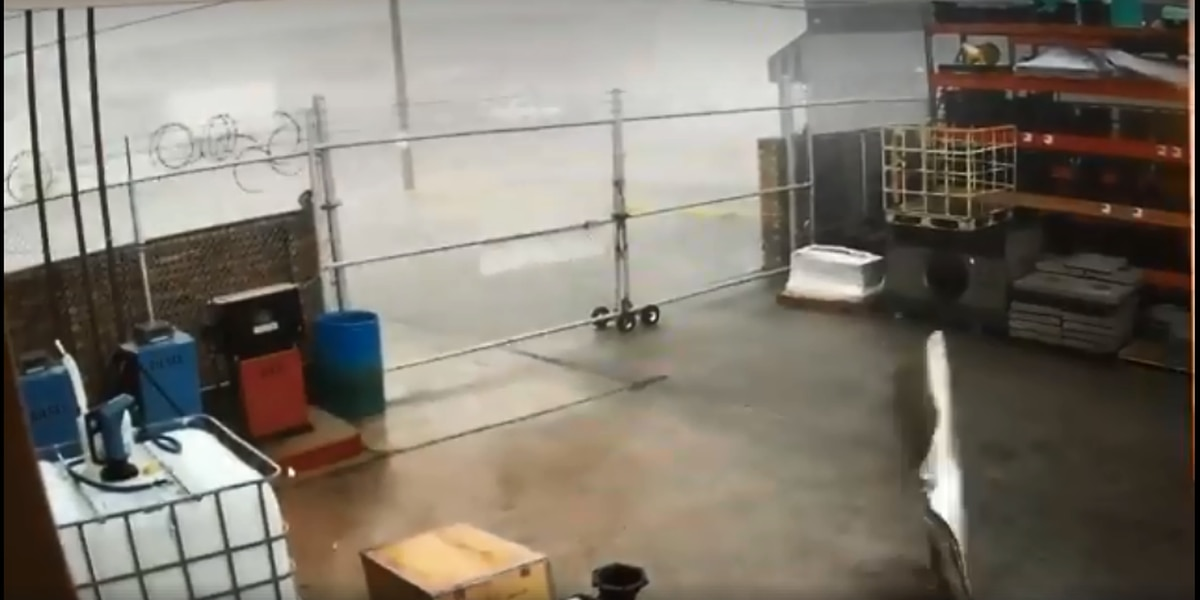Storm slams warehouses in Metairie Sunday evening