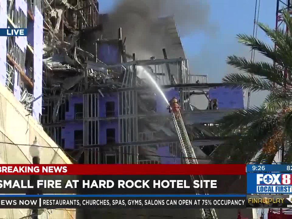Small fire at Hard Rock collapse site