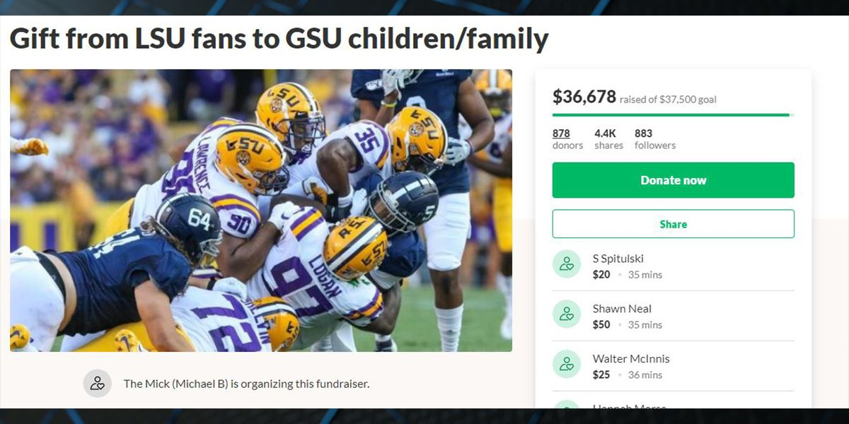 LSU fans donate more than $36k to Georgia Southern fans who