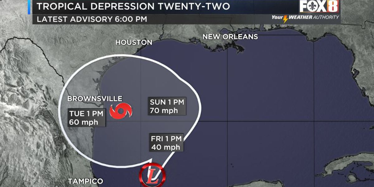 Depression 22 forms in the Gulf of Mexico