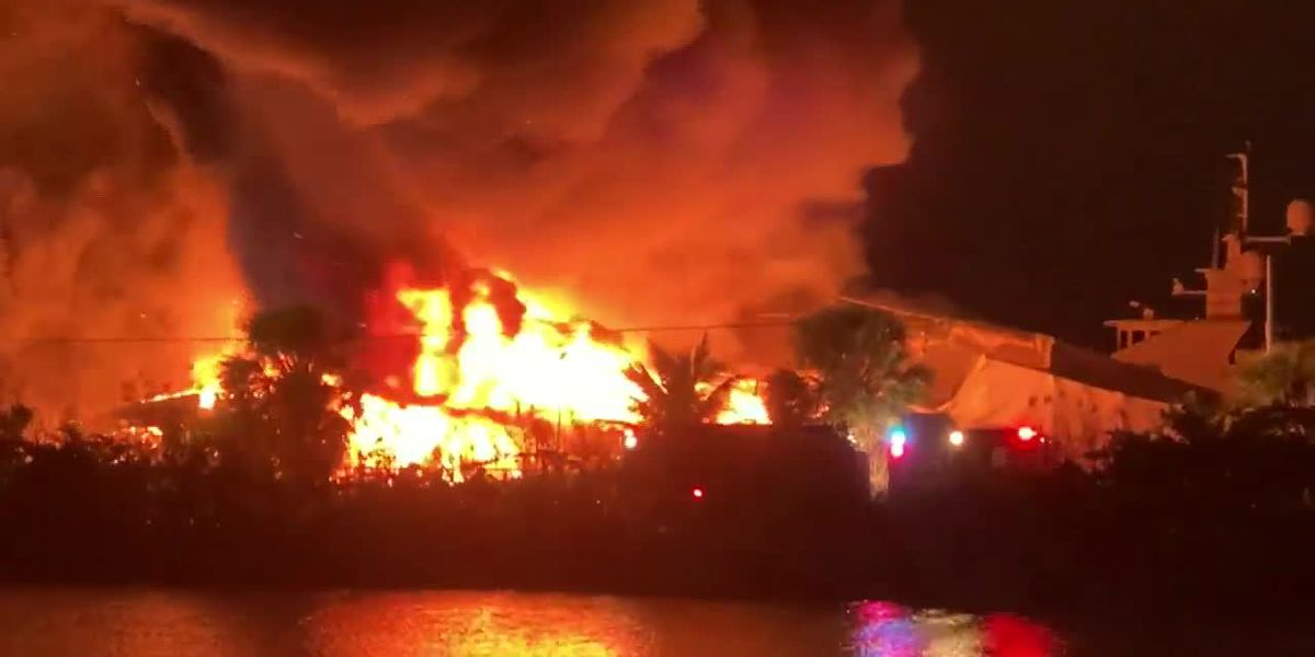 Two yachts were destroyed in a fire in Florida. (Source: WPLG, Viewer Video, CNN)