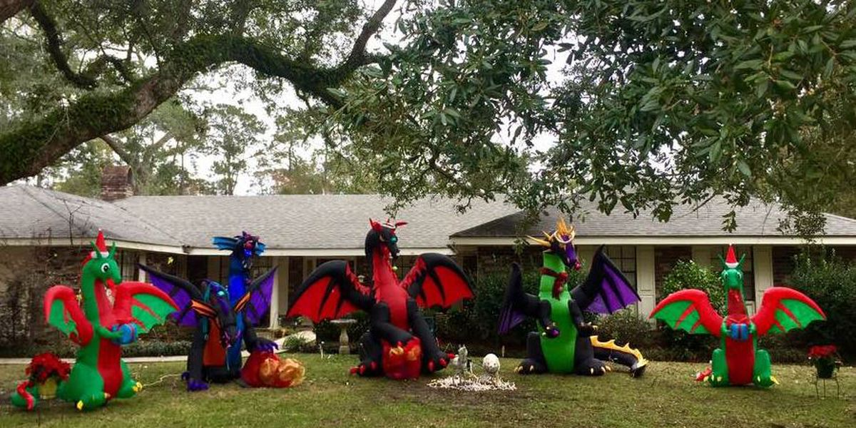 Woman's holiday dragon display draws criticism from neighbor, praise from internet