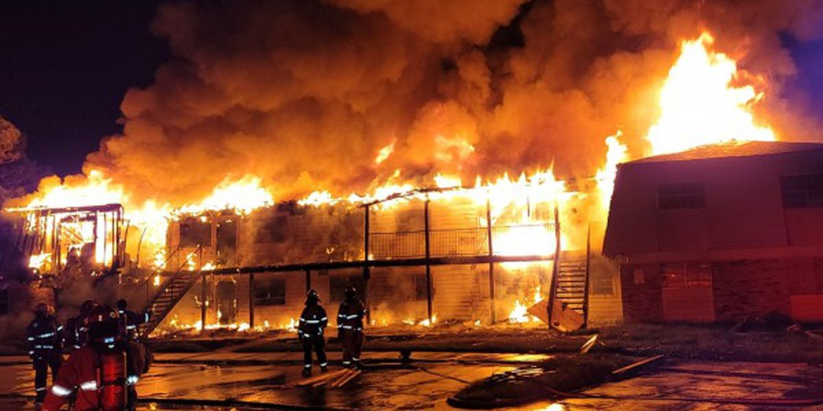 Lake Charles firefighters battle flames at apartments on Prejean Drive