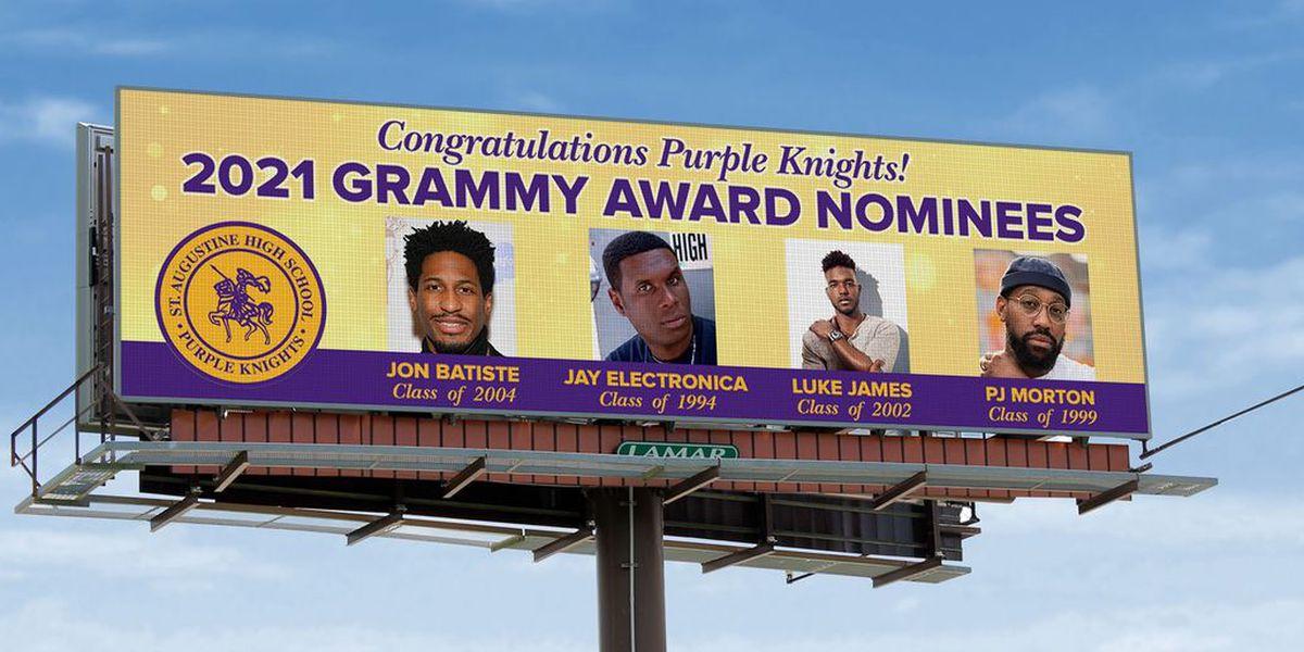 Billboards go up congratulating St. Augustine alumns on Grammy nominations.