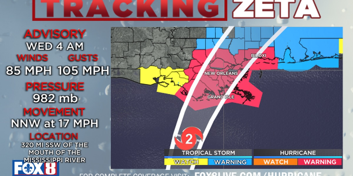 Zeta expected to be a Category 2 at landfall