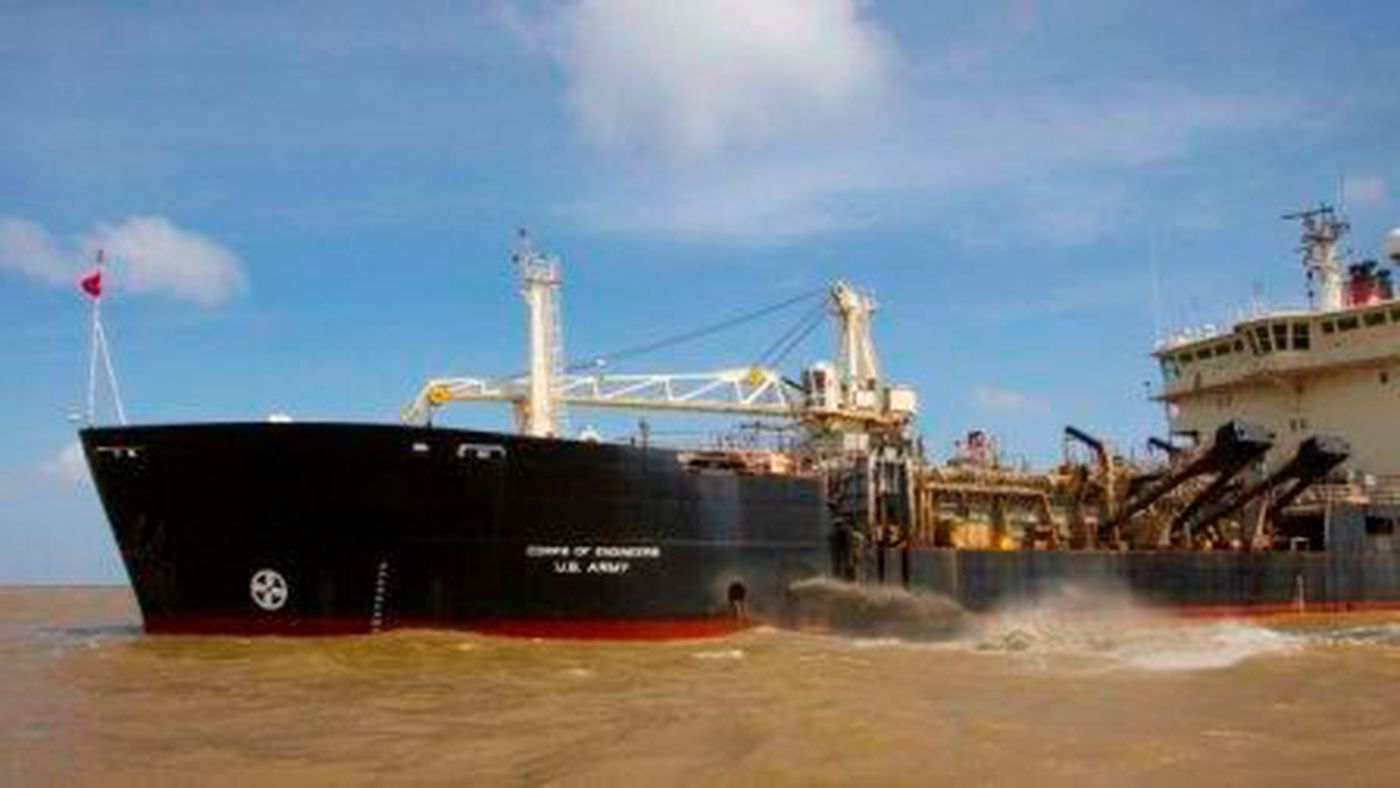Giant dredge sustained some damage in crash with cruise ship