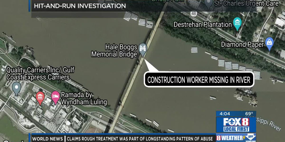 Construction worker missing after hit-and-run crash on Hale Boggs Memorial Bridge
