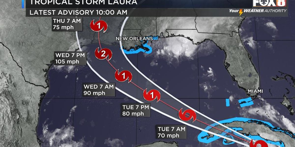 Marco quickly weakening as Laura enters the Gulf