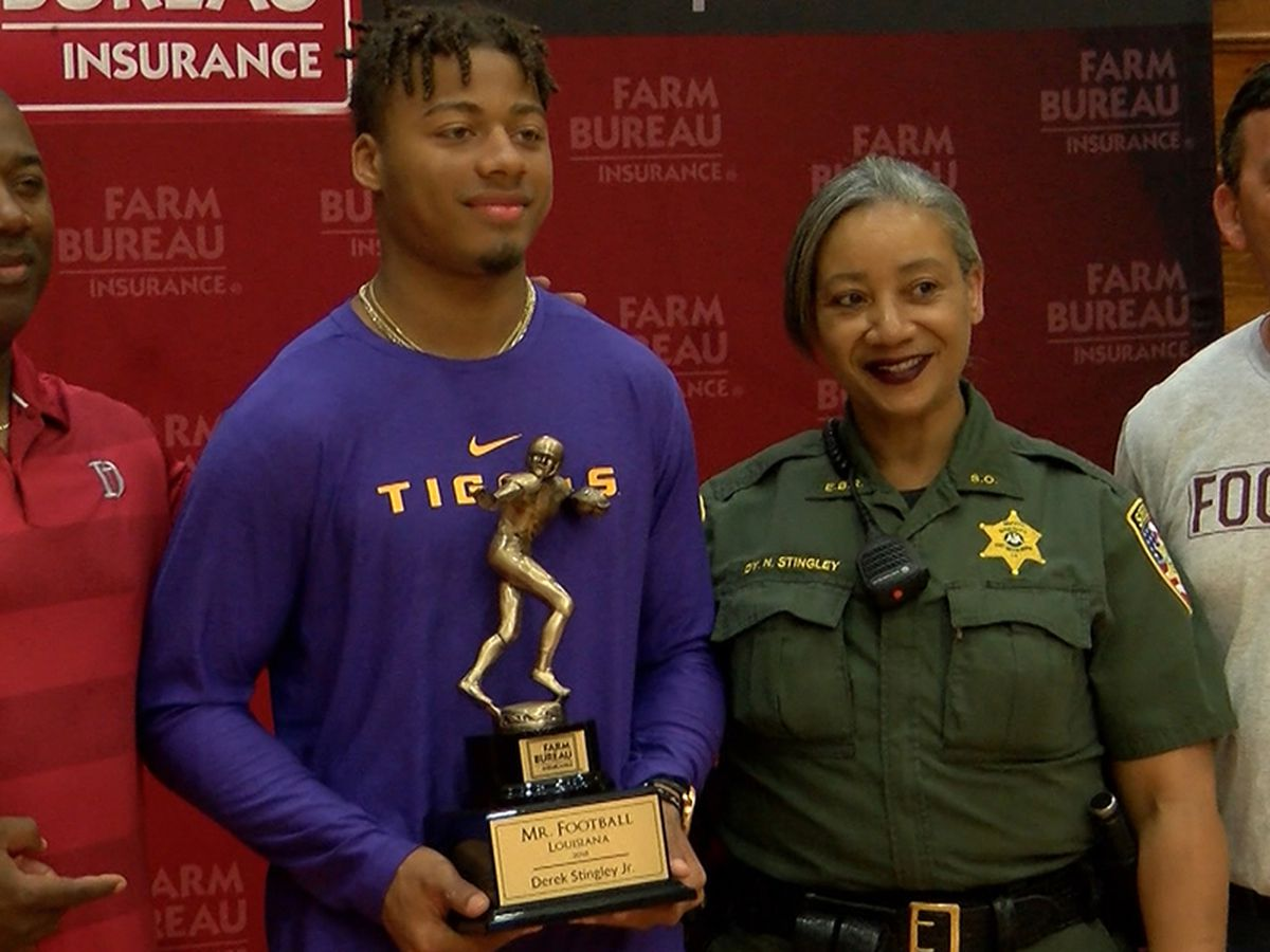 Derek Stingley Jr. receives 'Mr. Football' trophy
