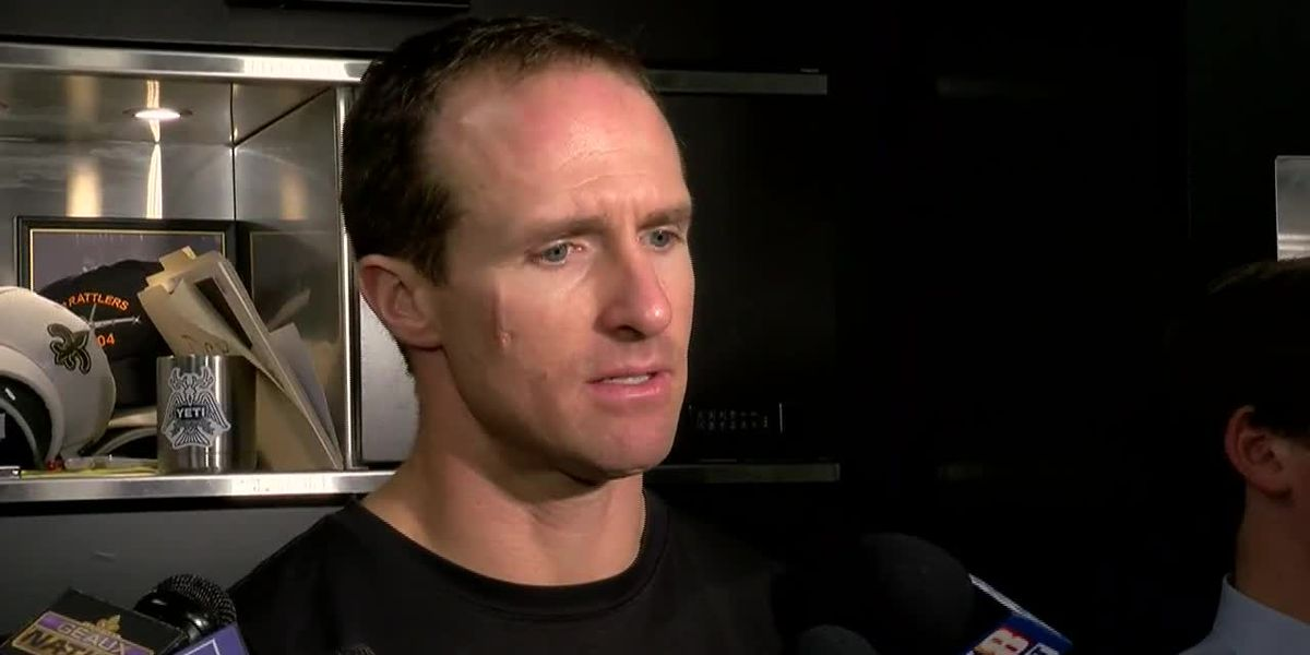 Drew Brees talks to the media before week three's match-up aginst the Falcons.