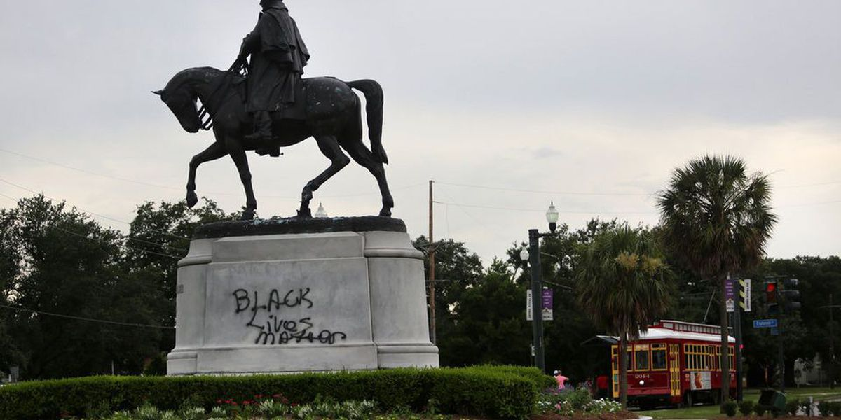 'Black Lives Matter' spray painted on New Orleans monument