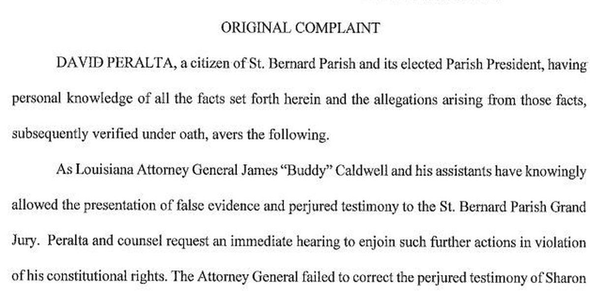Peralta lawsuit accuses attorney general of using perjured testimony