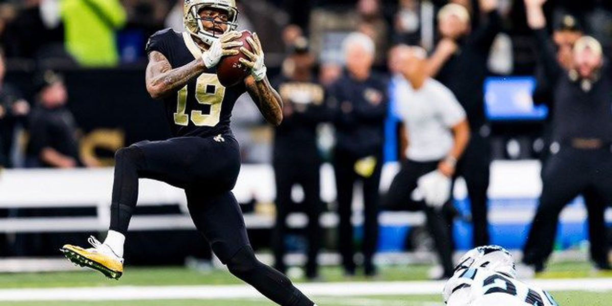 Two Brees touchdown passes give Saints halftime lead