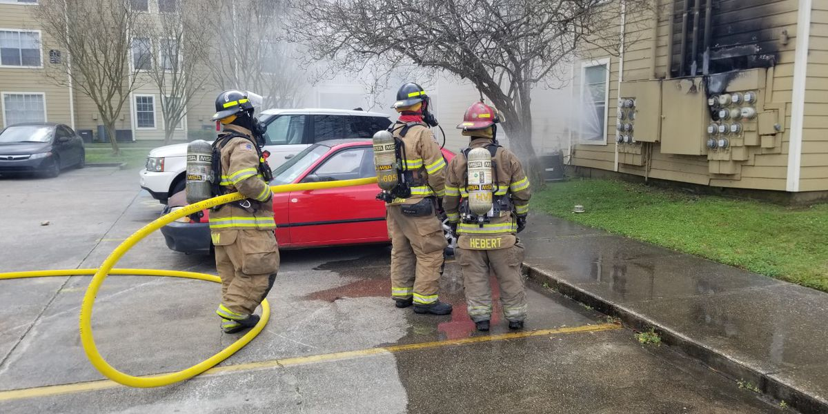 Firefighters respond to fire outside of Harvey apartment complex