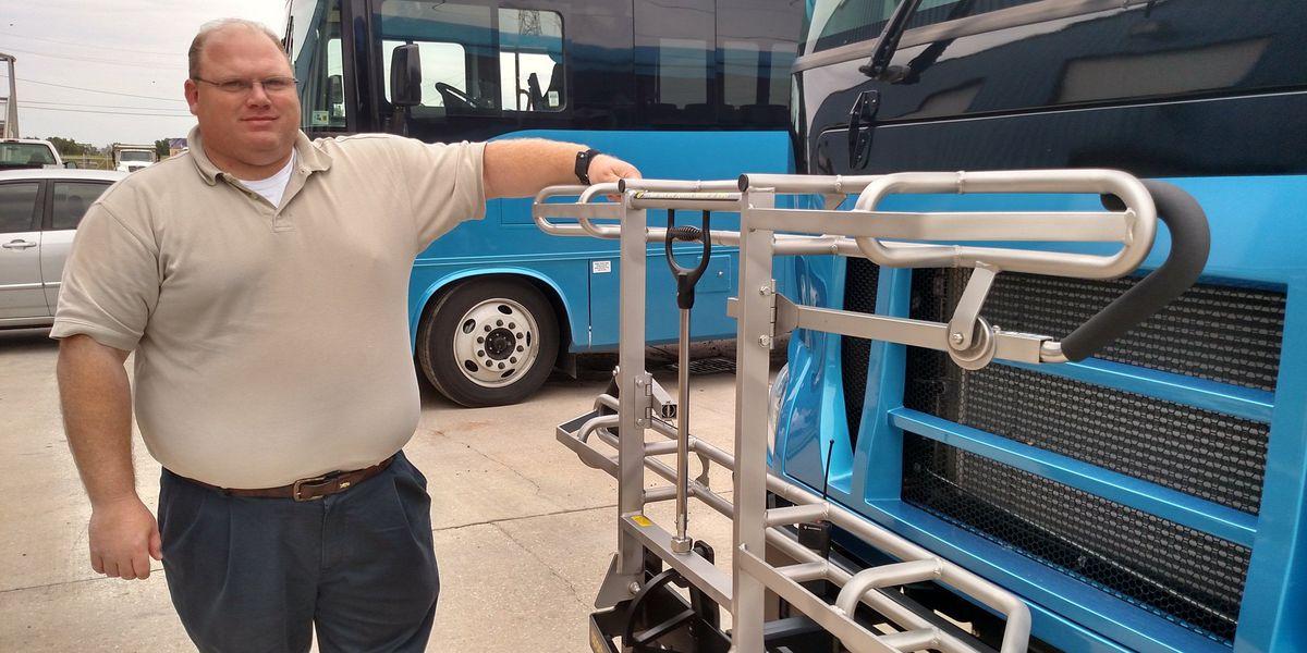 St. Bernard Transit unveils new bus bike racks