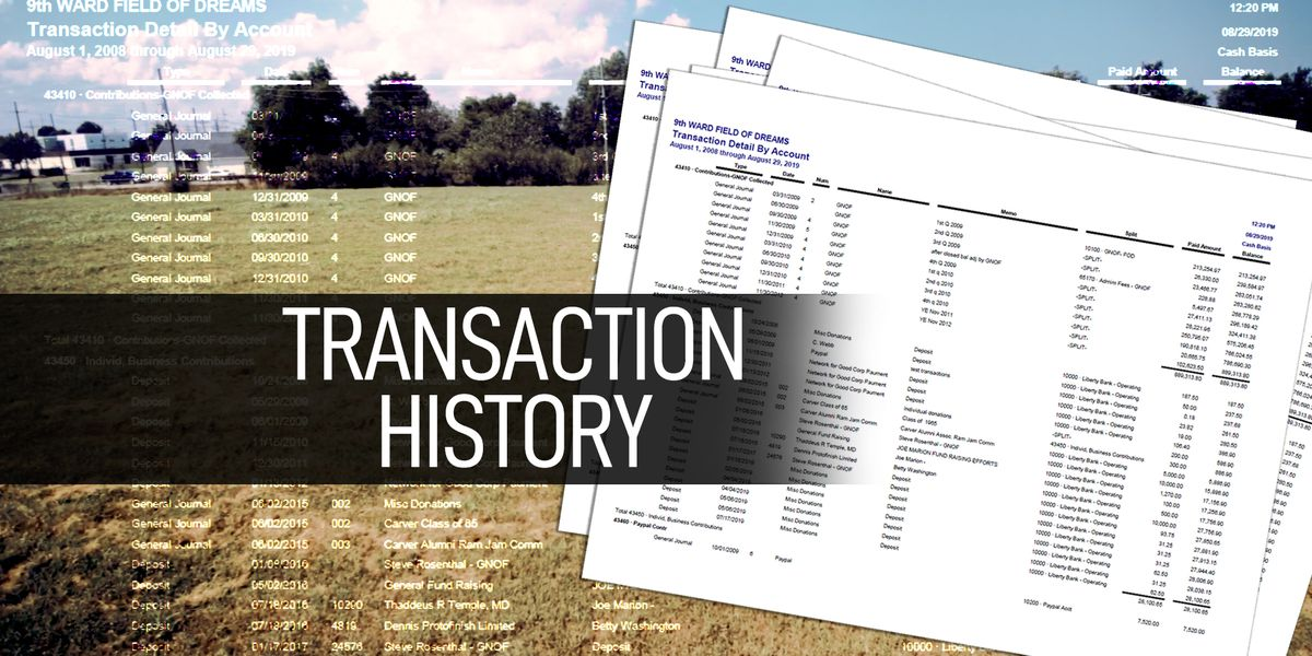 Transaction History for 9th Ward Field of Dreams