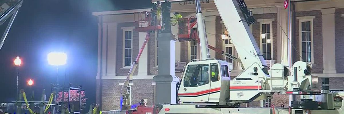 RAW: Confederate monument removed from Chatham County, NC, courthouse
