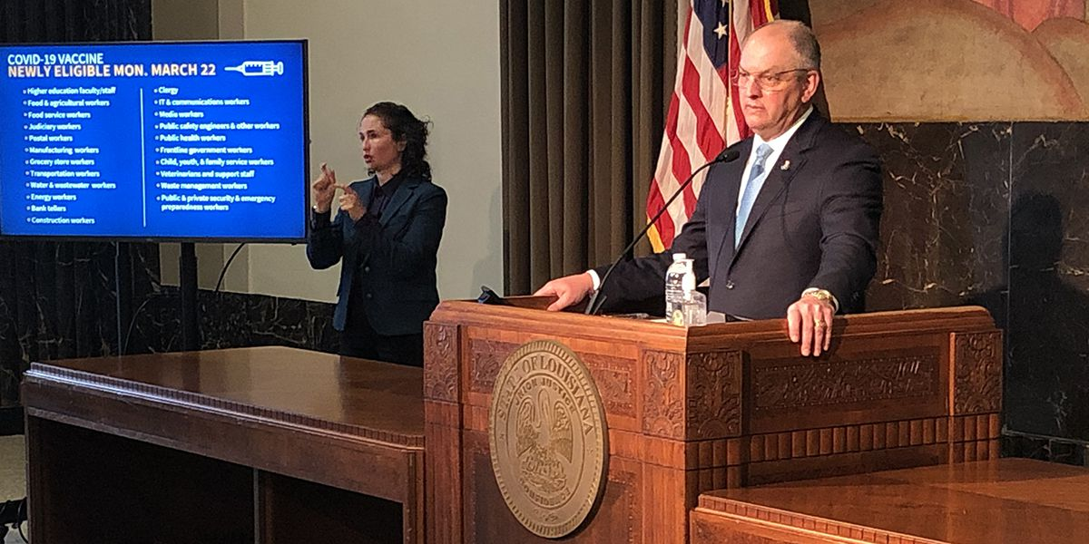 Gov. John Bel Edwards expands vaccine eligibility in La. to all essential workers