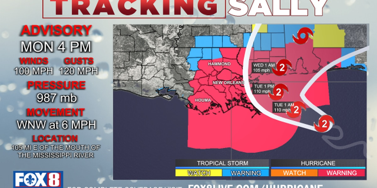 UPDATE: Sally now a category 2 hurricane; track shifts east again