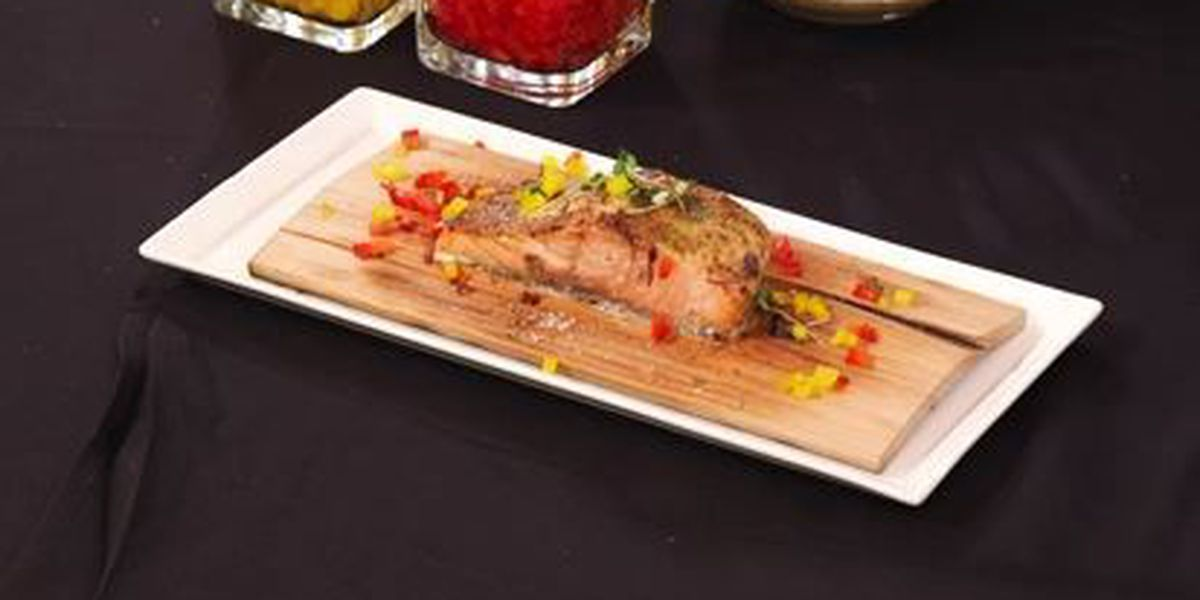 Chef John Folse Grilled Salmon Steaks With Mustard Glaze