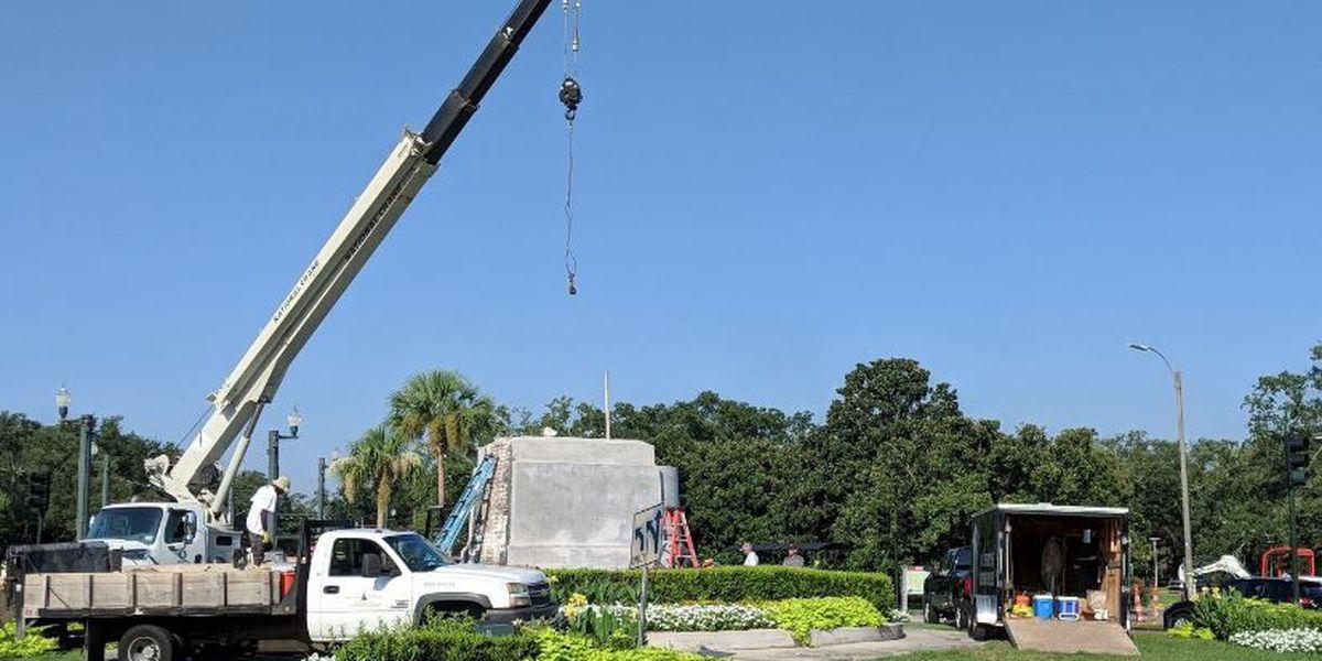 LIVE: P.G.T. Beauregard pedestal removal process underway