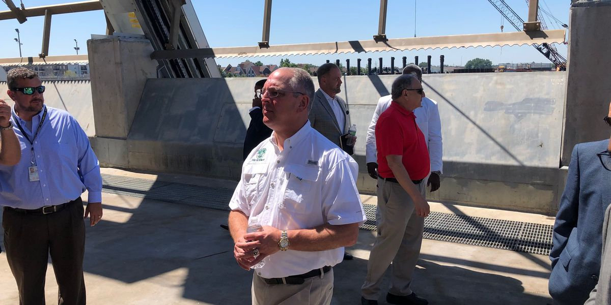 Governor talks storm defenses, and levee subsidence