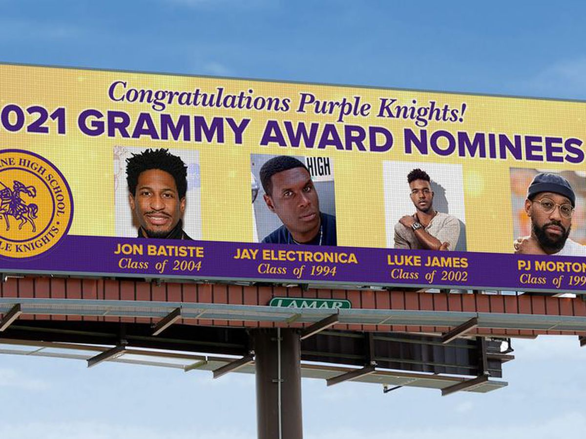 Billboards go up congratulating St. Augustine alumns on Grammy nominations.