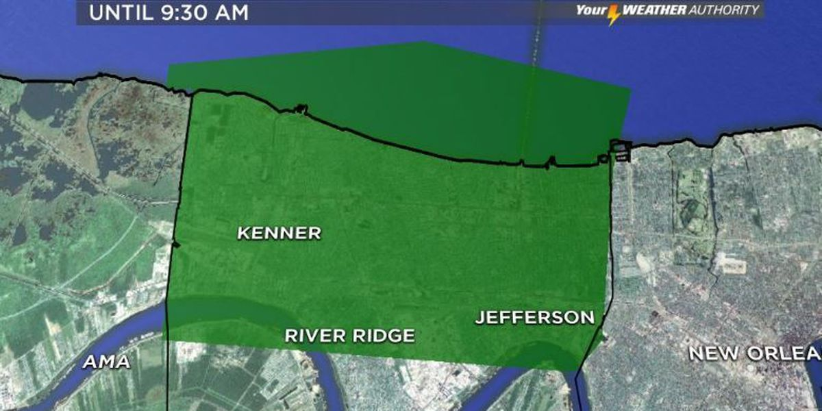 Breaking News: Flood advisory issued for northern Jefferson Parish