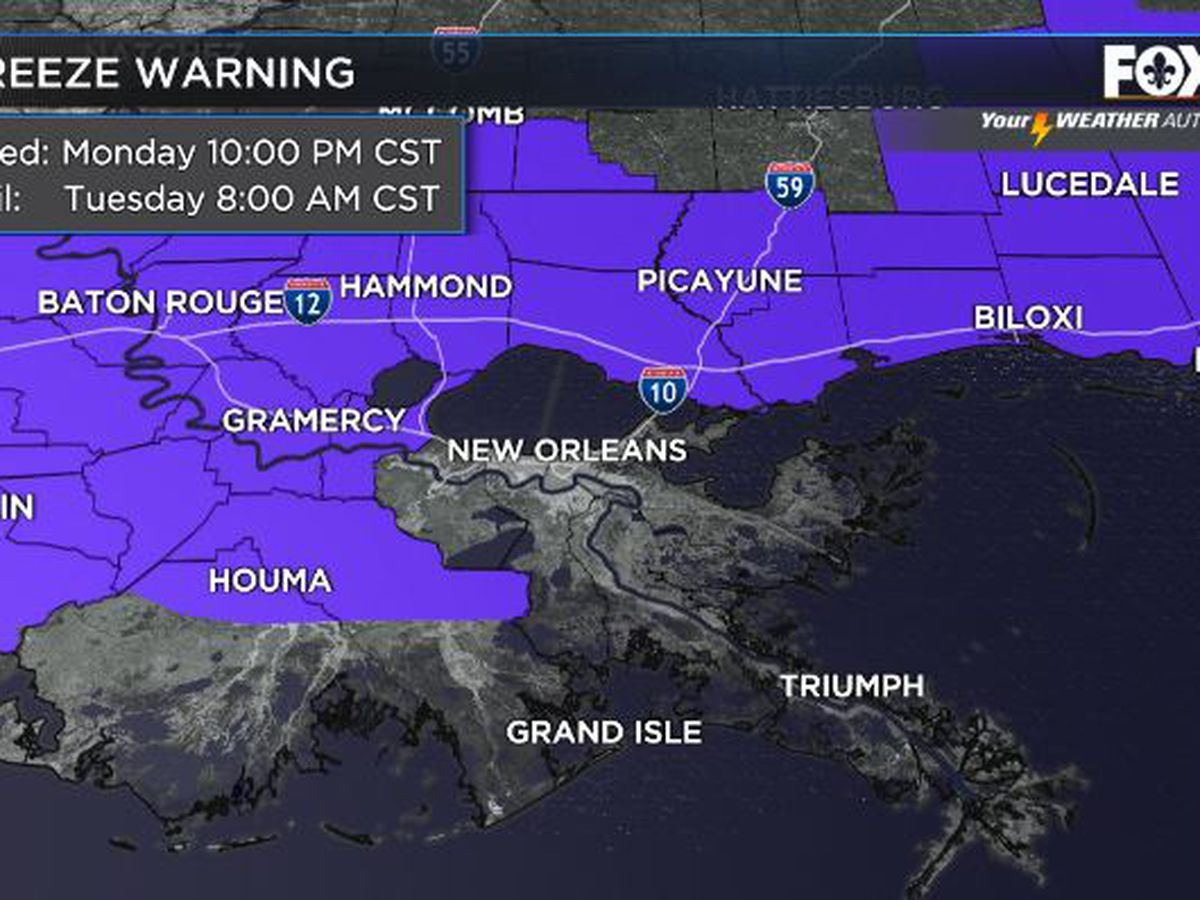 Freeze warning in effect Monday night