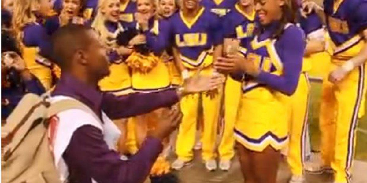 LSU cheerleader gets sideline proposal in Tiger Stadium