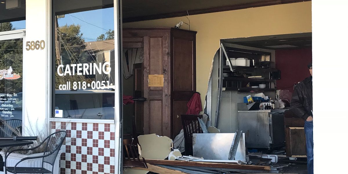 Car crashes into coffee shop, JPSO on scene