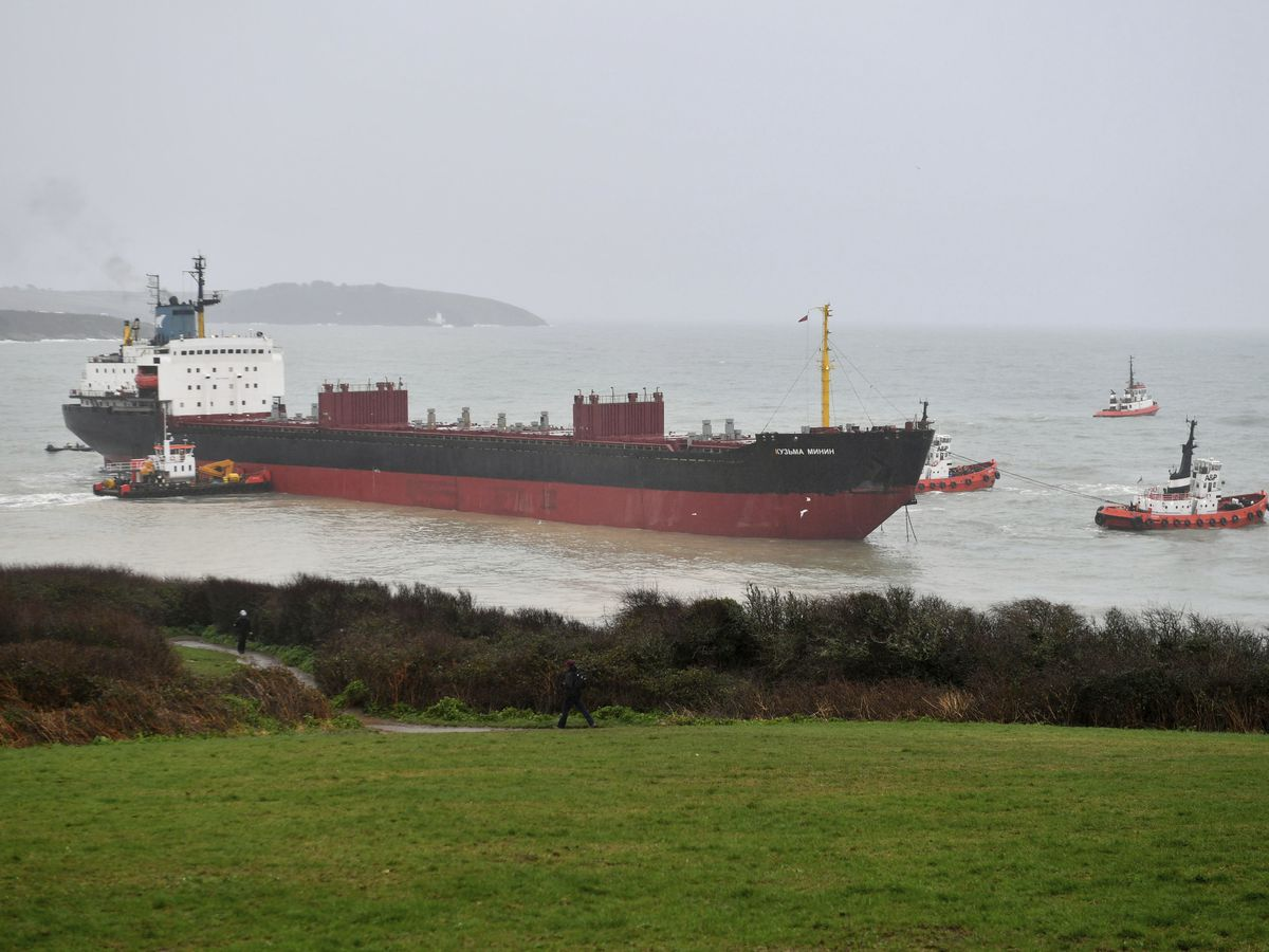 Russian cargo ship runs aground off southwest England