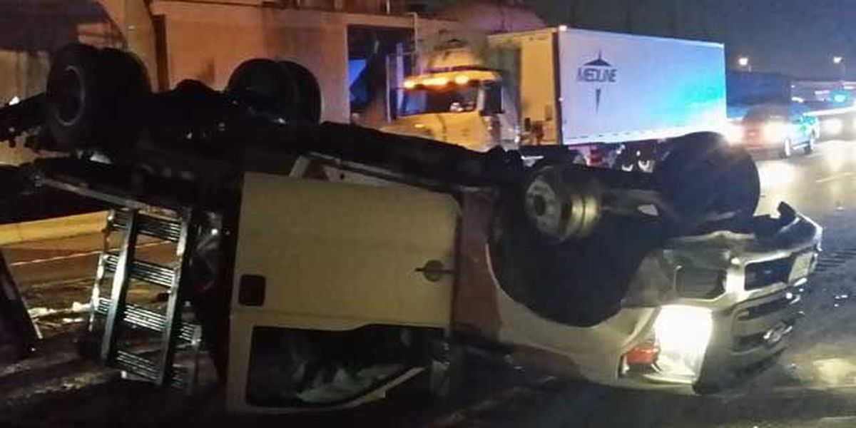 Truck overturns on I-10 East near West End, all lanes open