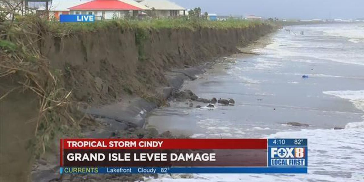 Cindy severely damages Grand Isle burrito levee
