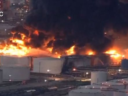 Fire blazes at a Houston-area petrochemicals terminal