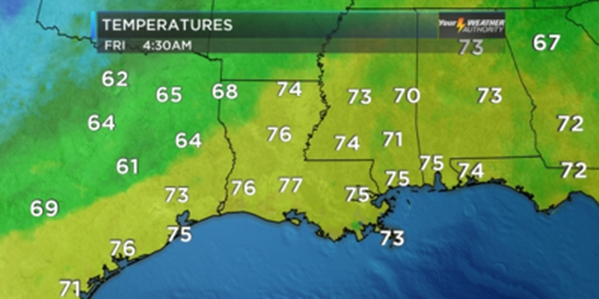 Metro New Orleans will see a very warm Friday before Saturday rains move in