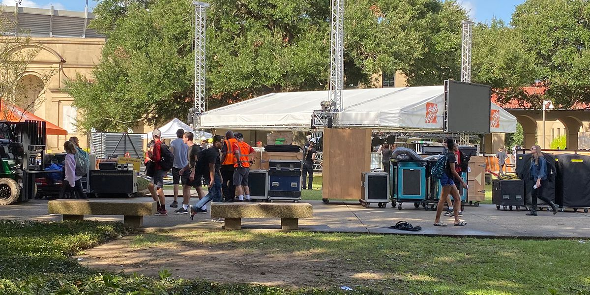 ESPN College GameDay begins constructing set on LSU's campus