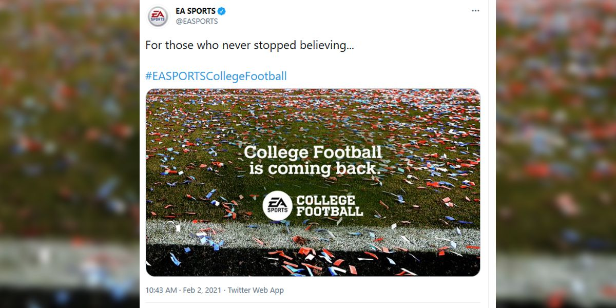EA Sports confirms return of college football game