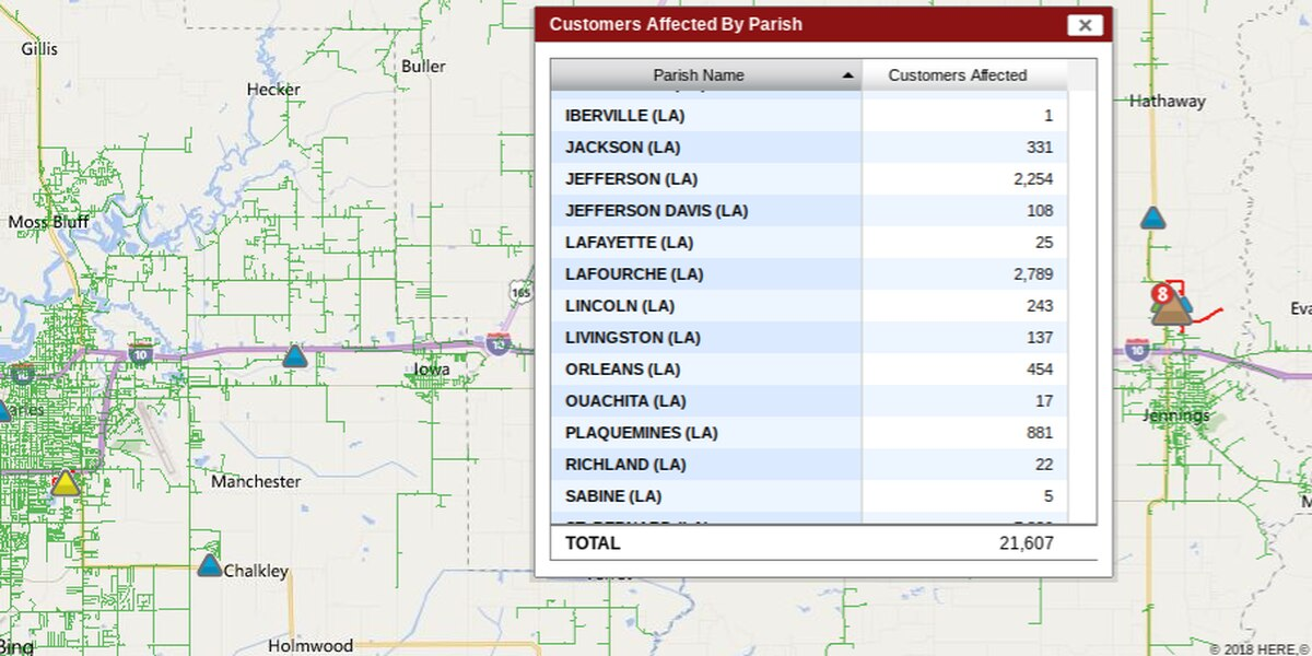 Thousands without power in Jefferson, LaFourche parishes