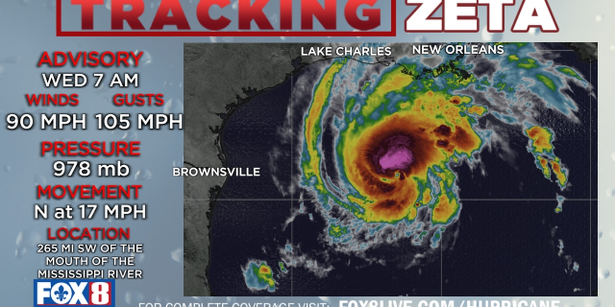7 a.m. Update: Hurricane Zeta strengthens; expected to be a Category 2 at landfall