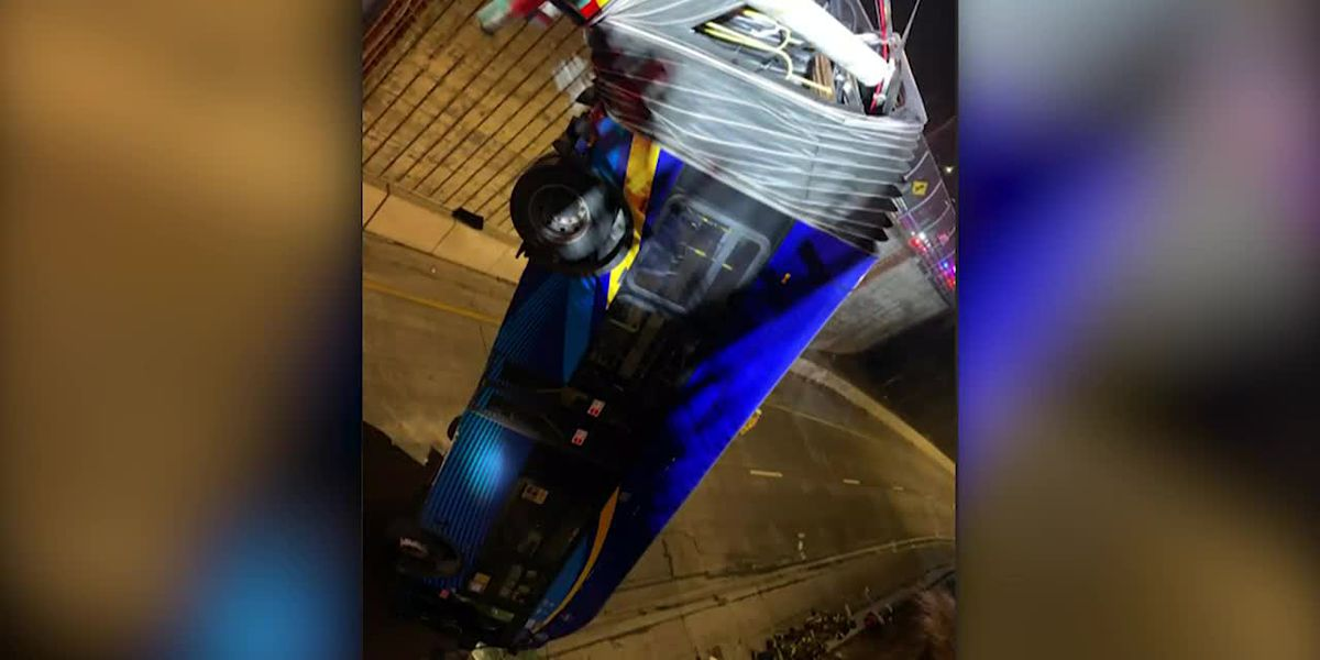 STILLS: Images of bus dangling off overpass in NY